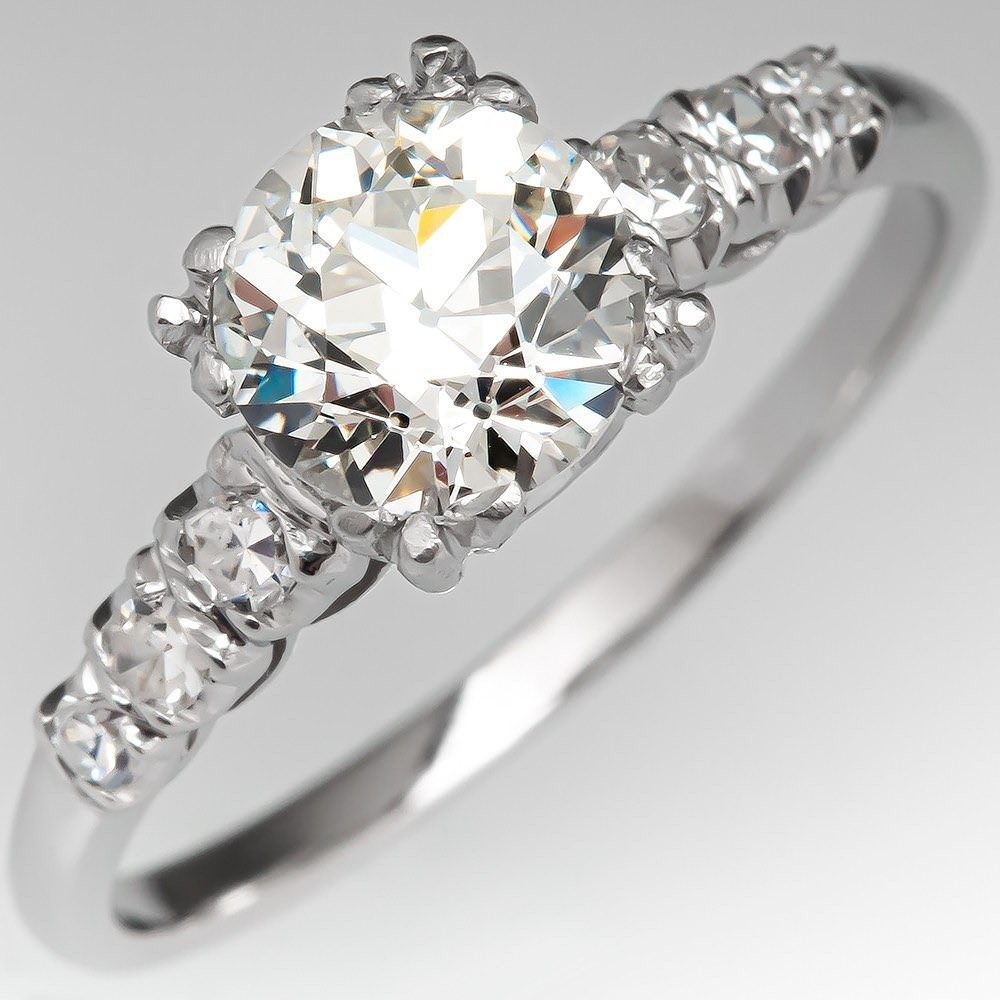 Antique Engagement Ring Old Euro Diamond 1.09ct L/VS1 GIA