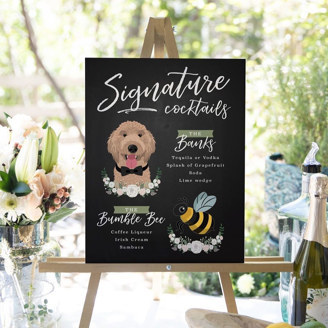 We bet this custom cocktail sign generated some serious BUZZ at this wedding 🥃 We love ALL animals at MDB, so it was a truly sweet