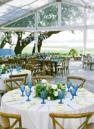 blue and yellow outdoor wedding reception