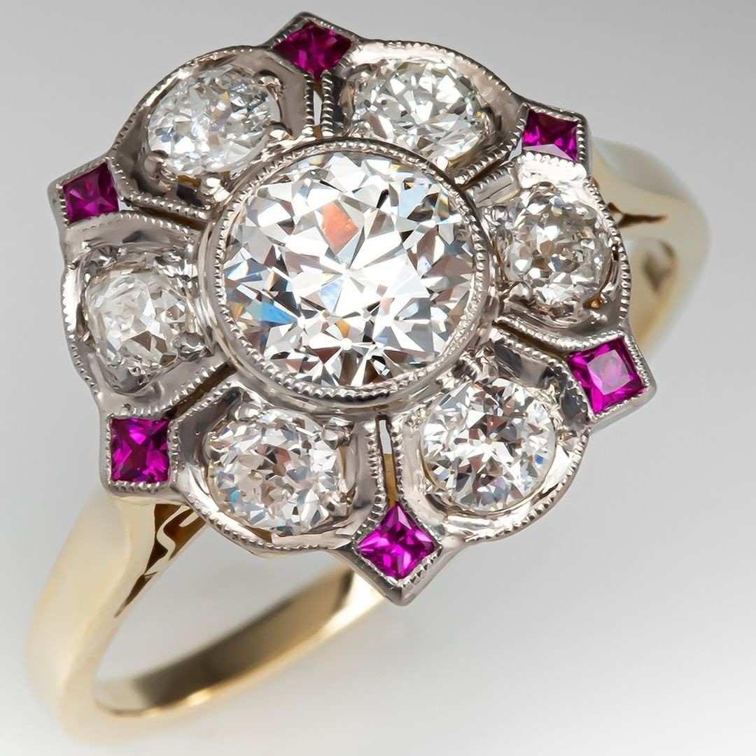 1920s Old European Cut Diamond Ring w/ Ruby Accents
