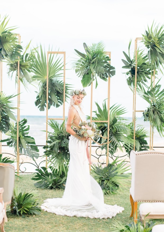 tropical ceremony backdrop