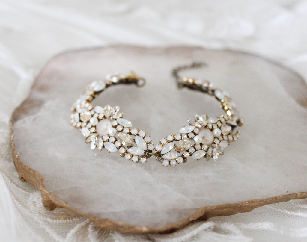 Handcrafted Antique gold Swarovski crystal Bridal beaded bracelet has such beautiful detail you will instantly fall in love !