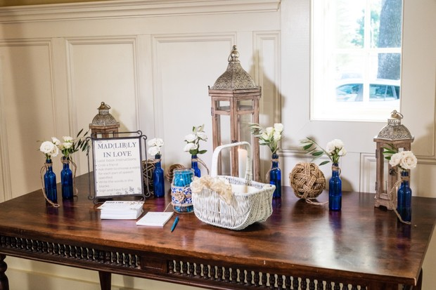 blue and white wedding welcome table