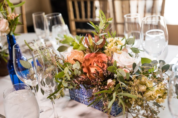 bright and colorful wedding floral centerpiece