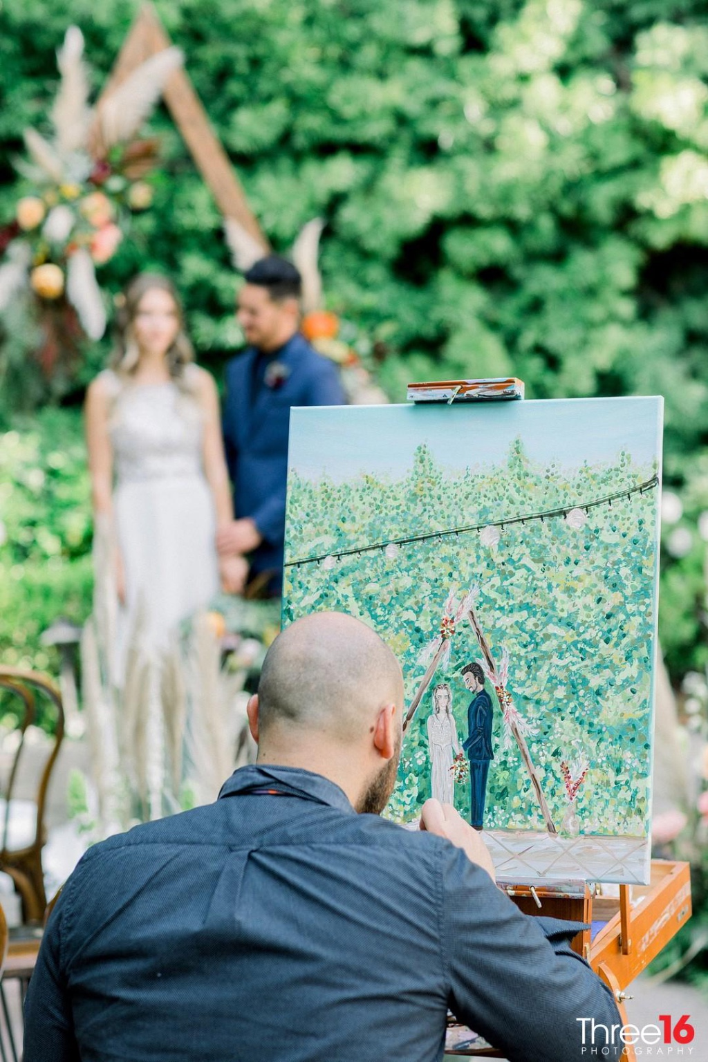 This was such a dream BoHo wedding at fransican Garden in San Jaun Capistrano. I love painting where there is so much greenery. I love