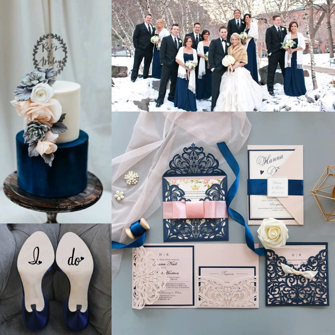 Sunday wedding inspiration boards, blue and pink