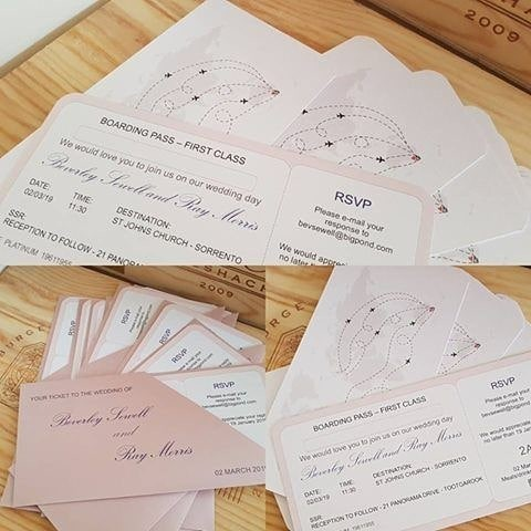 Ticket and boarding pass invitations for destination weddings