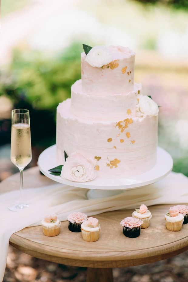 soft pink and gold wedding cake