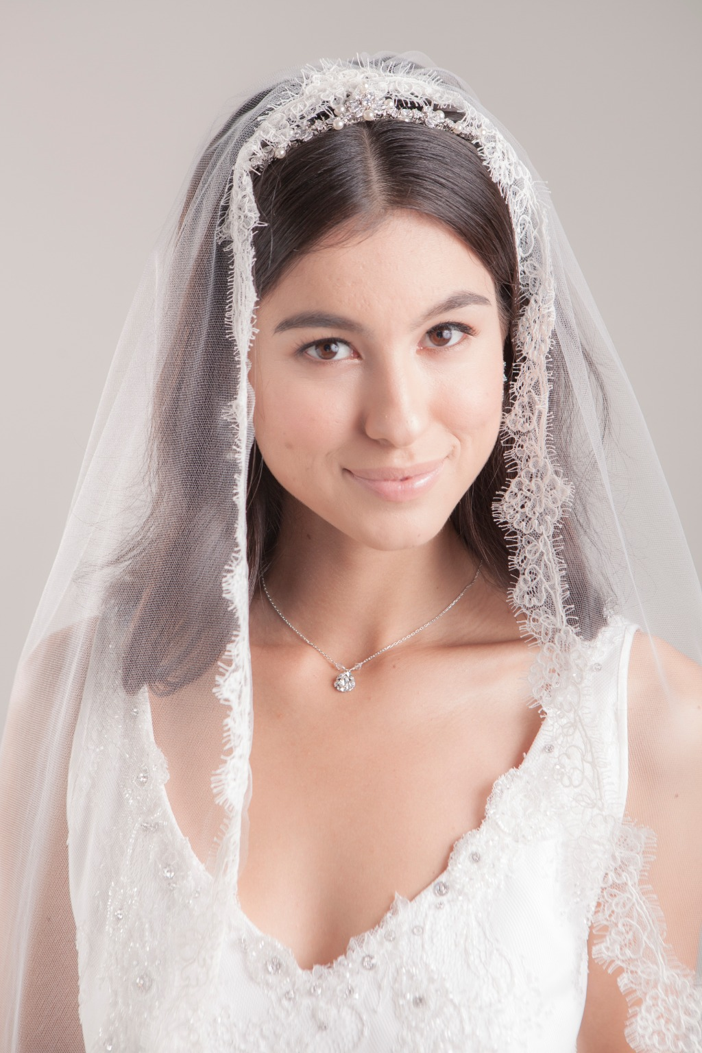 Do you love lace but want a modern, airy look for your wedding veil? Hayley may be your perfect match!