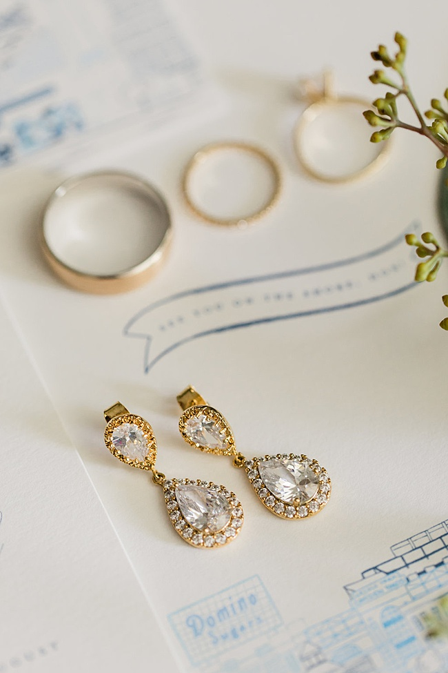 These sparkly gold bridal earrings were the perfect fit for a classic Annapolis wedding! They have sterling silver posts, making them