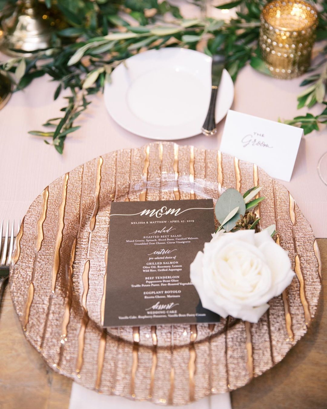 "When an incredibly stylish, super laid back bride asked for a ""chic dinner party"" vibe for her reception, we could not wait to"