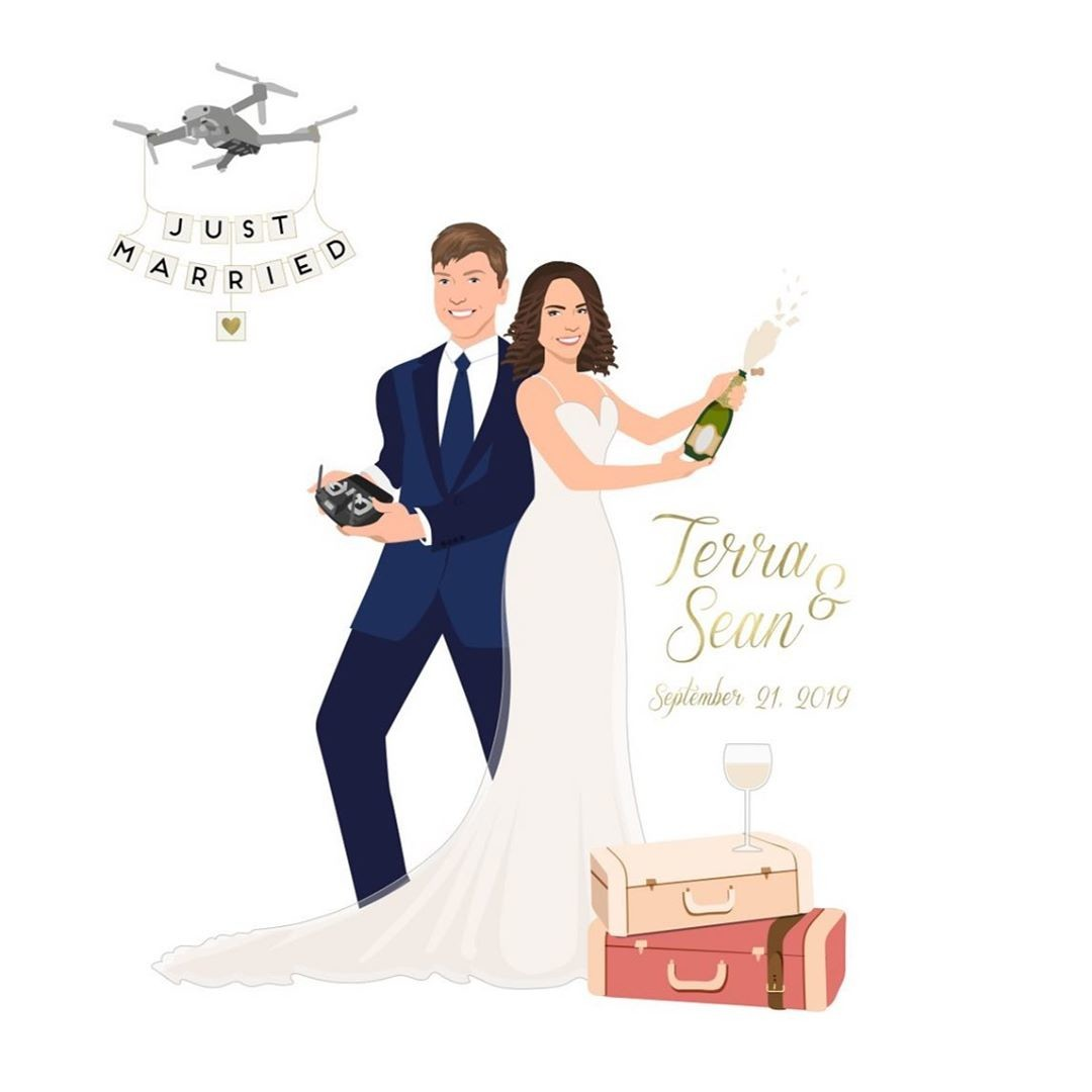 We are loving ALL of the elements that this couple brought to their custom design! 🍾 A drone that says just married being controlled