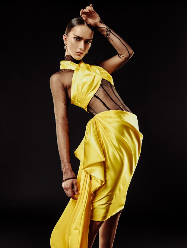 Michael Fausto sheer sleeved and yellow gown