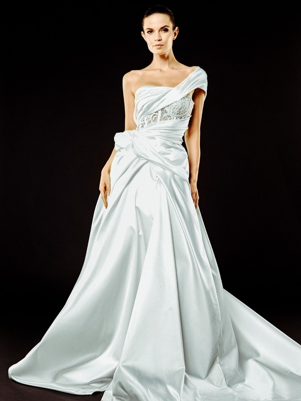 sexy draped Michael Fausto bridal gown