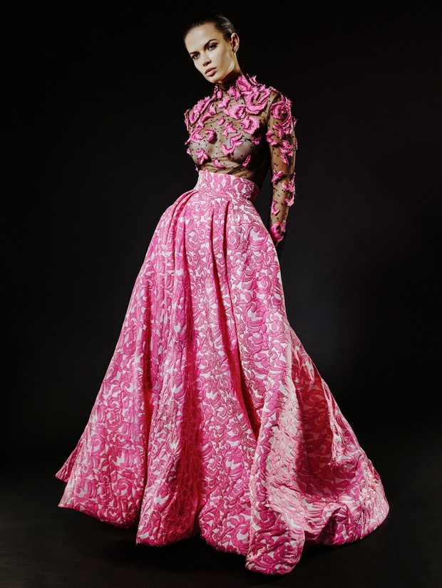 pink pattered Michael Fausto gown