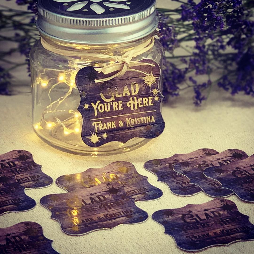 """Glad You're Here"" Rustic gold foil tags for Frank and Kristina. What will your tags say?"