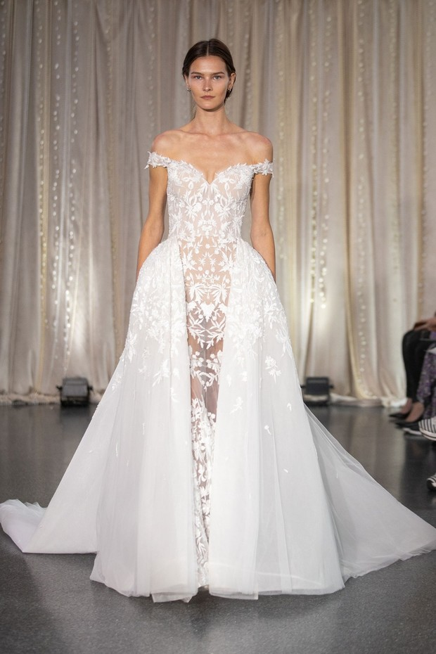 sheer and floral wedding gown by Lee Petra Grebenau