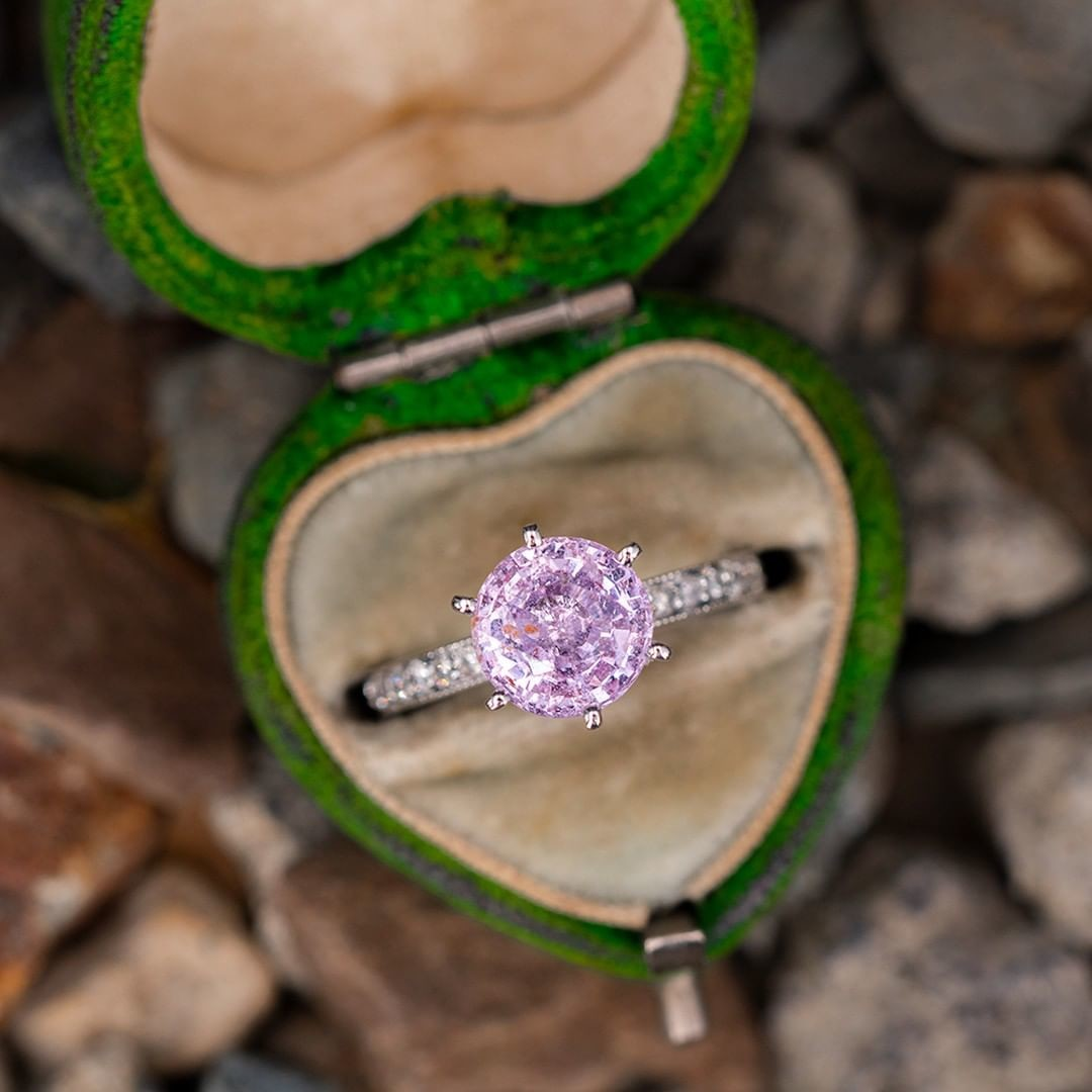 Light Pink Sapphire 6-Prong Solitaire w/ Accents