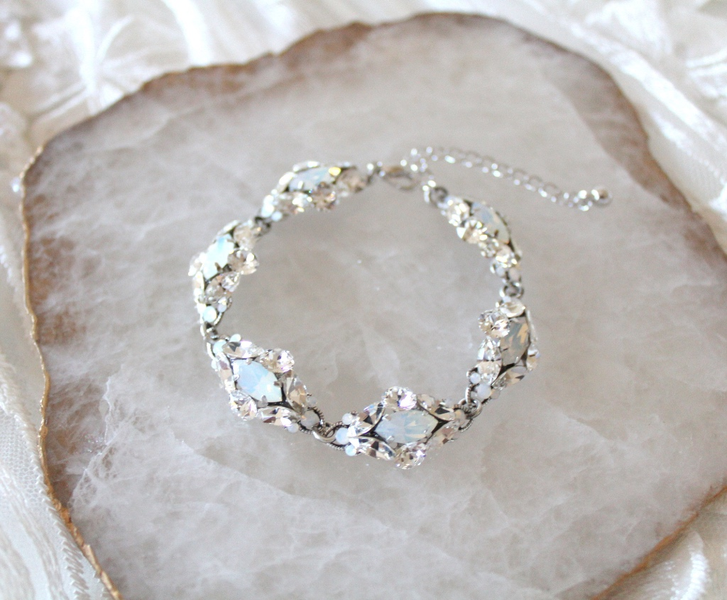 Swarovski white opal and clear crystal Bridal bracelet handcrafted per order just for you.