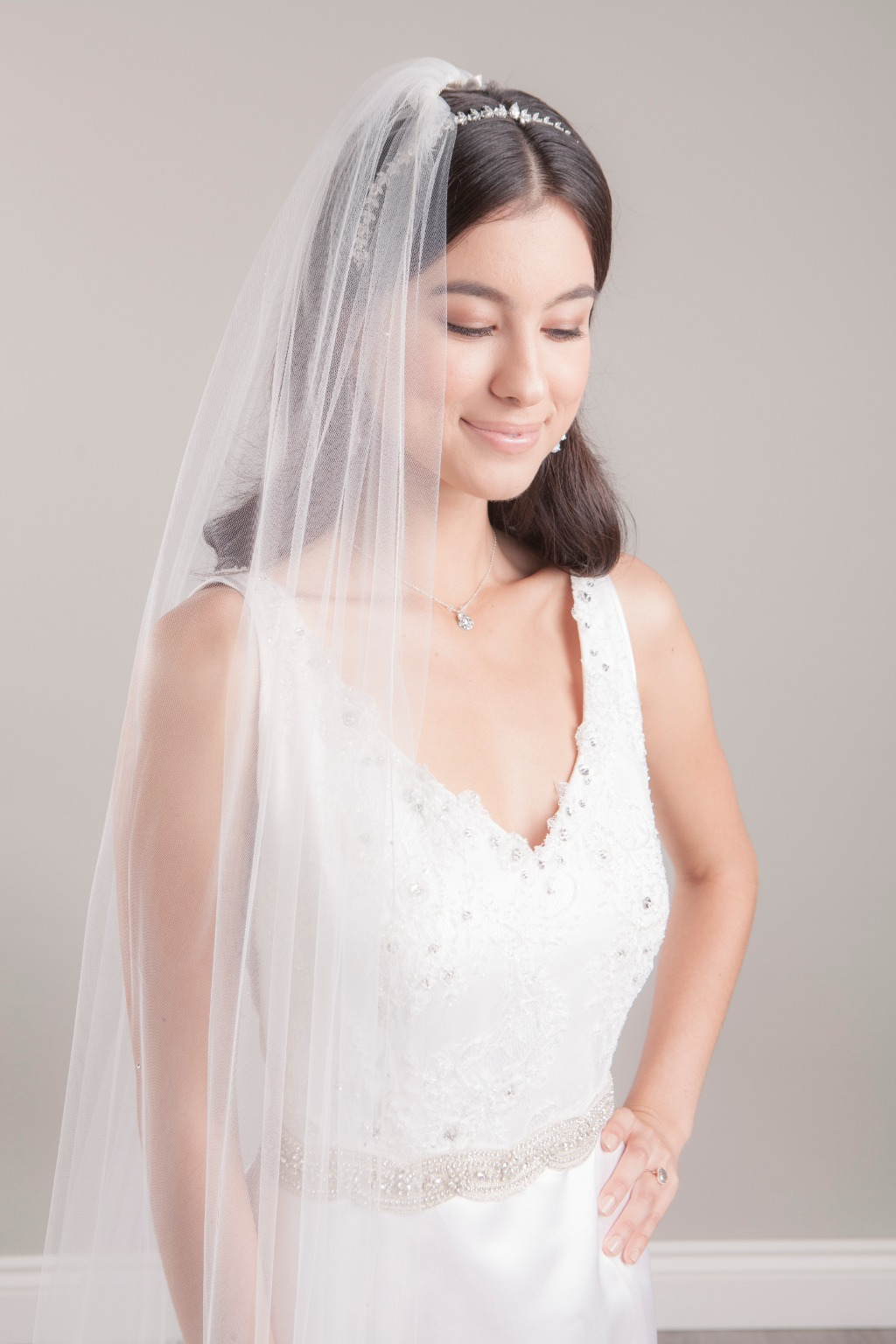 One tier cathedral veil with ombre effect scattered Swarovski stones. Finished with our signature micro-metallic edge.