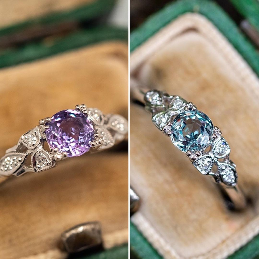 Purple indoors, green outdoors. This Alexandrite naturally changes colors in different lighting conditions.