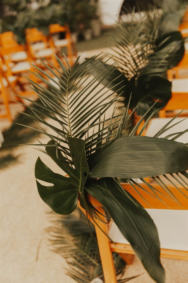 palm wedding aisle decor
