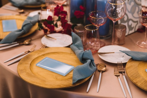blue and pink wedding place setting