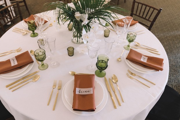 gold green and terracotta wedding table decor
