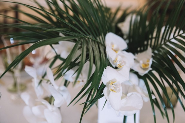 palm and orchid wedding flowers