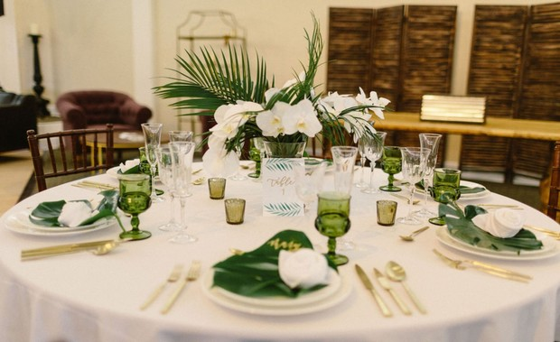 tropical gold white and green wedding table