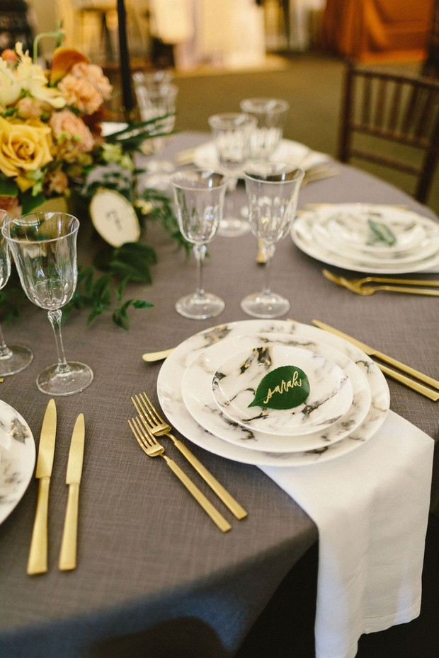 gold grey and marble table decor