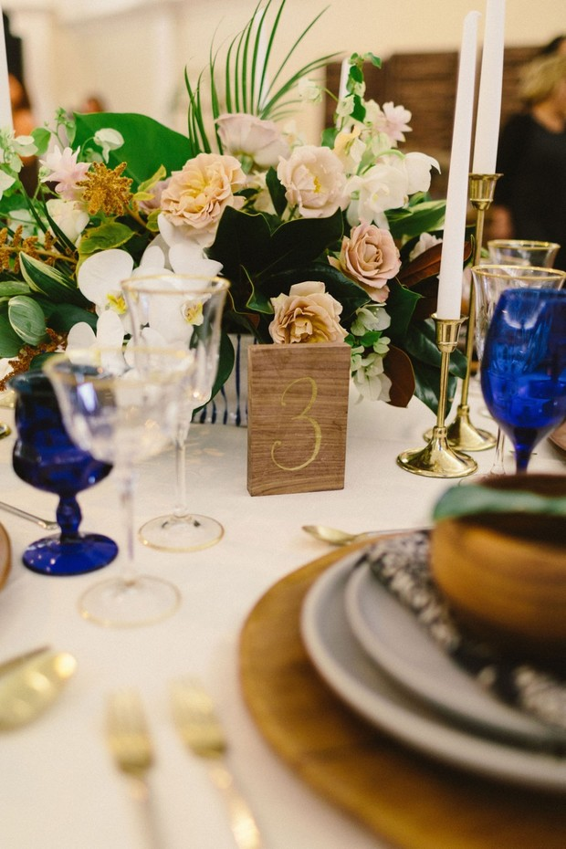 gold and wood wedding table number