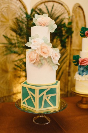 gold and green wedding cake