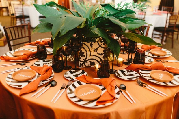 orange and bold black and white table decor