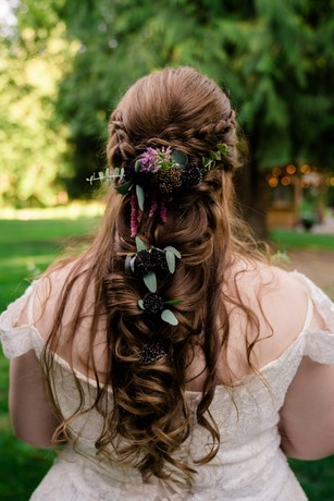 floral accented wedding hair