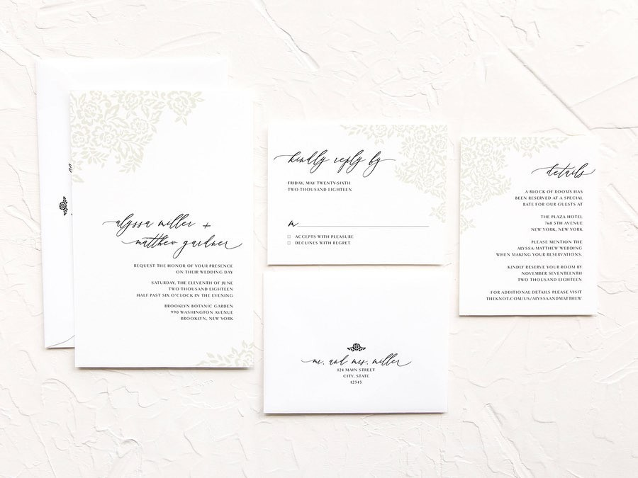 This is one of my favorite semi-custom invitation suites. It's simple, bright and features blind letterpress to mimic the look and
