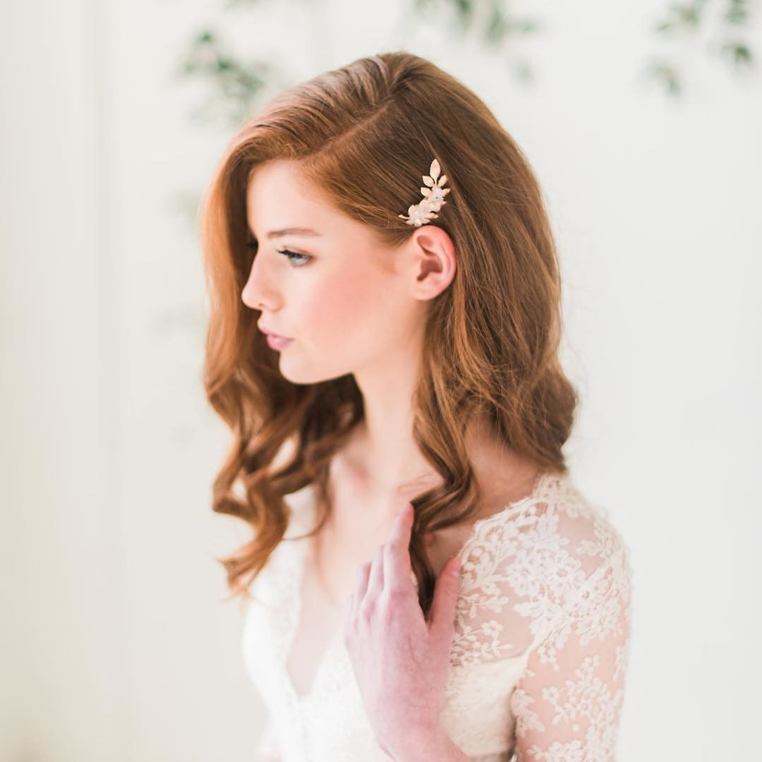 Our best selling floral hair comb is now ready to ship in rose gold and gold. While supplies last. Photo by