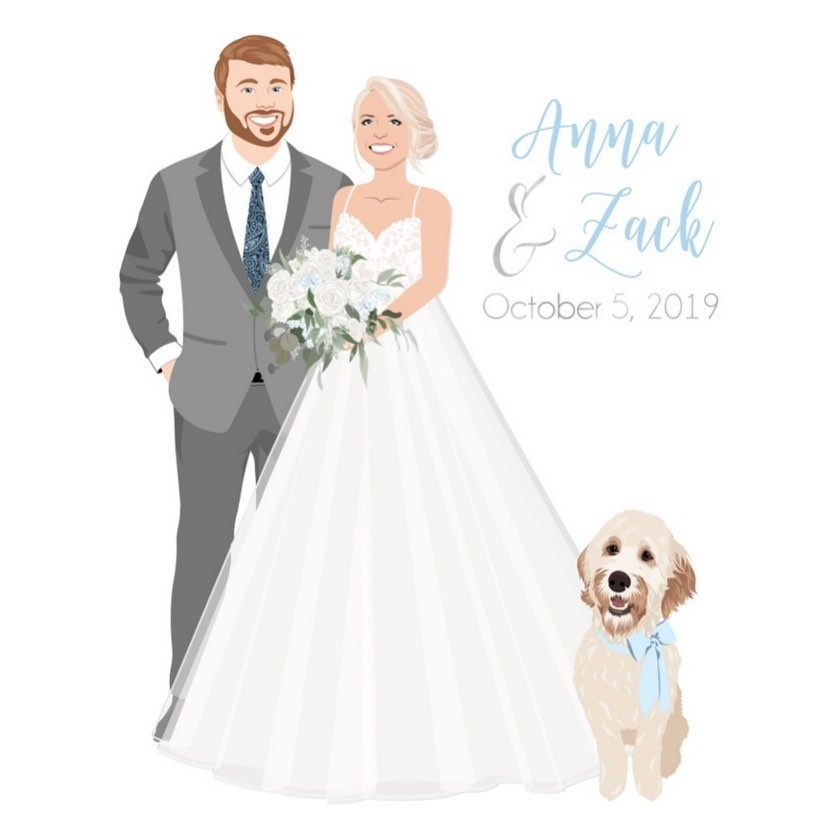 This couple had their something blue covered in their custom guestbook! How adorable is that baby blue bow on their fur baby?? �