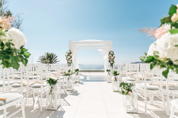 all white wedding ceremony in Greece