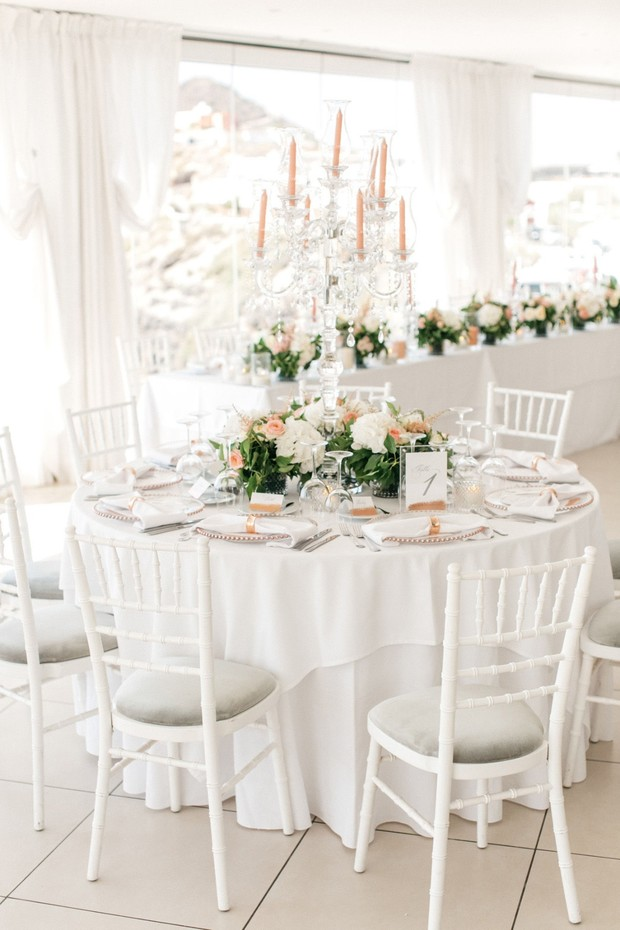 white with pops of gold wedding reception
