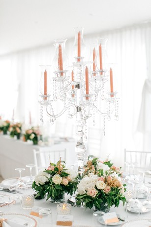 elegant gold and white wedding reception decor