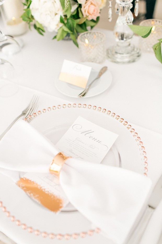 romantic and modern gold and white wedding place setting