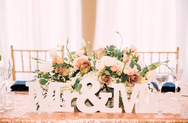sweetheart table decor in white and rose gold