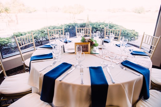 ivory and navy wedding table decor