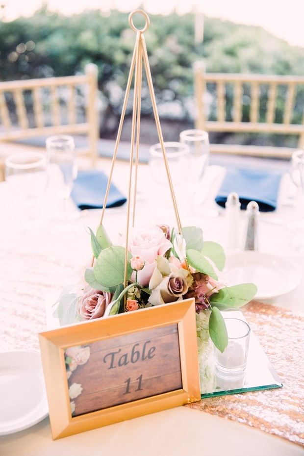 wedding table number and elegant centerpiece