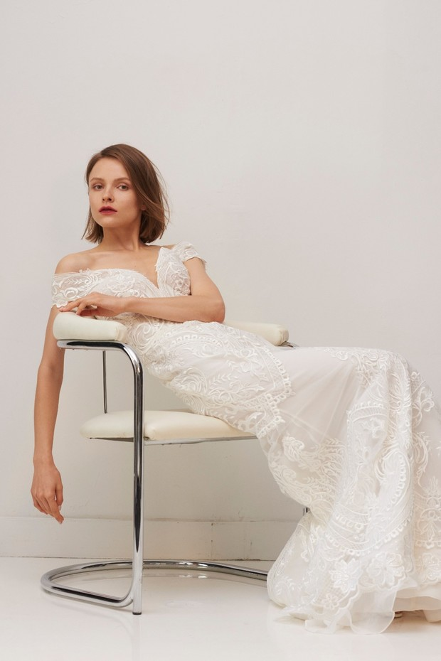 RIVINI off the shoulder wedding gown