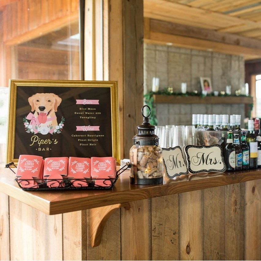 Piper was pretty in pink in her custom bar design, and we love this photo from one of our clients showing off how they displayed their