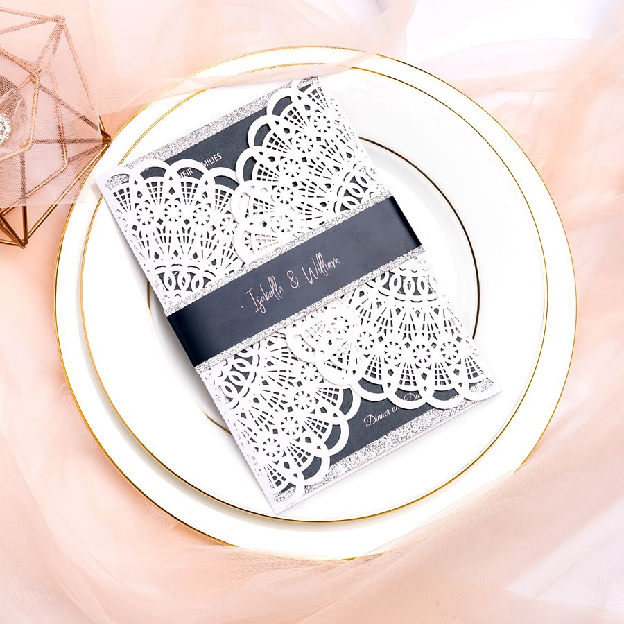 This stunning laser cut invite features arc-shaped outer card, which is both cute and elegant. Besides, the inside chalkboard card