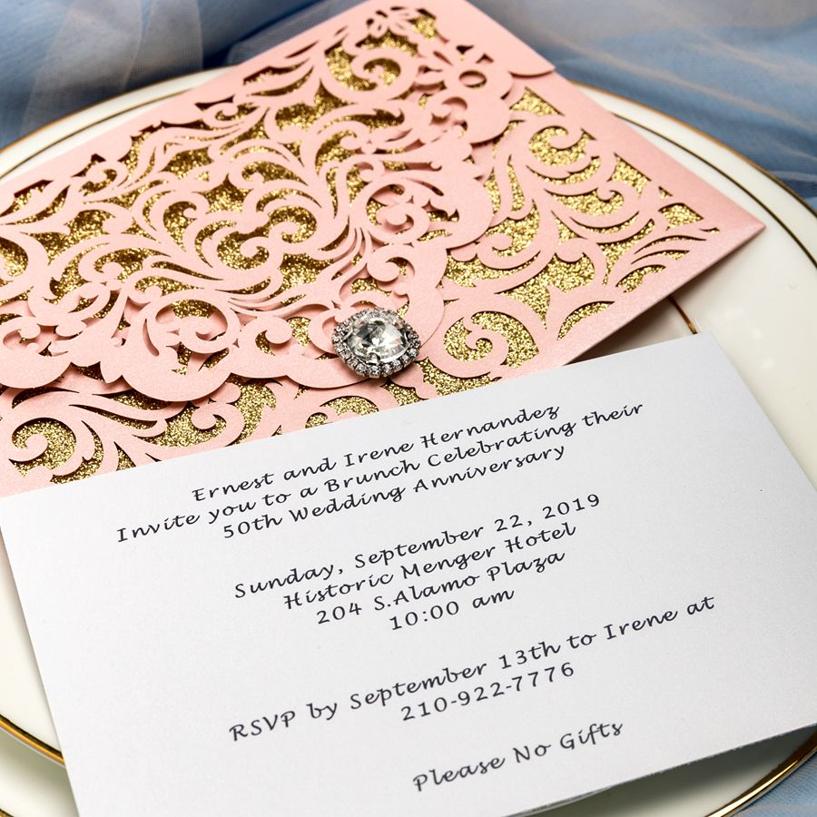 With up and down design, the elegant invite is finished with a chic diamante, adding a touch of luxury to the set. The inside gold