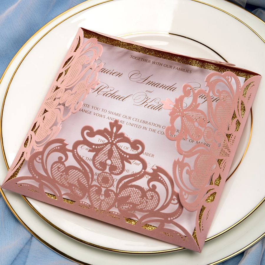 This captivating Petal Laser Cut Pocket Invitation bursts with beautiful floral design. It has a unique square shape that adds a touch